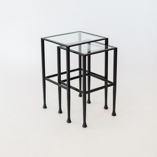 black and glass nesting end table