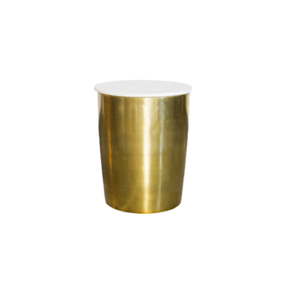 gold round end table with marble top