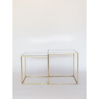 gold square tables