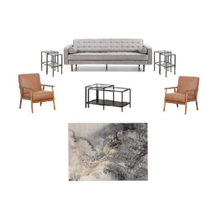 Gray sofa, two leather chairs, black nesting tables, and black marbled rug
