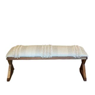 white boho bench