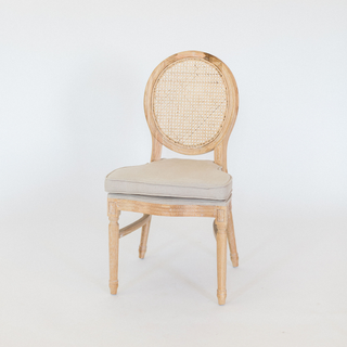 linen chair with cane backing