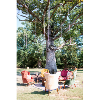 Vintage colorful furniture in front of tree