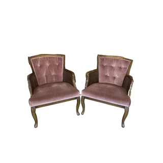vintage pink and rattan chairs