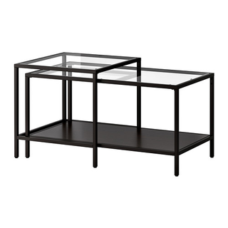 black and glass nesting coffee table