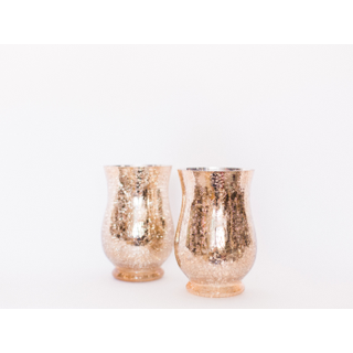 two rose gold mercury glass vases
