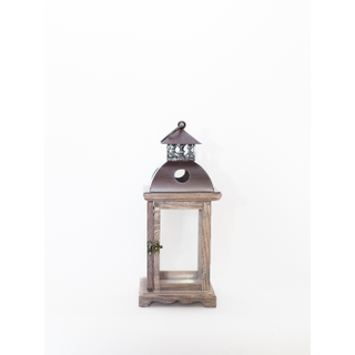 small wooden lantern with brass top