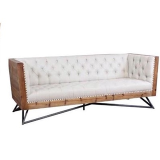 linen sofa with wood surround and black metal legs