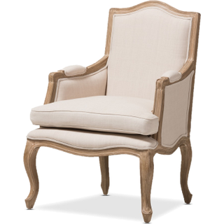 linen chair with wood trim and legs
