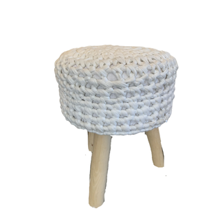 white knit stool with light wood legs