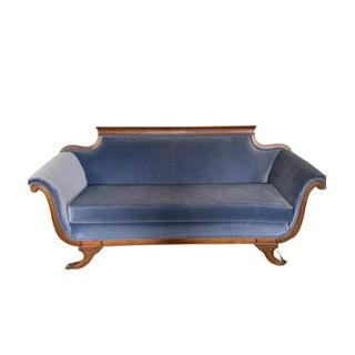 blue velvet vintage sofa