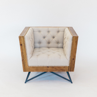 Square linen chair with wood outer edge and black metal legs