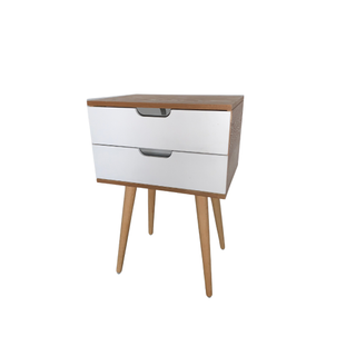 white and wood modern end table