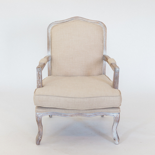 linen chair with gray/white tone wood arms and legs