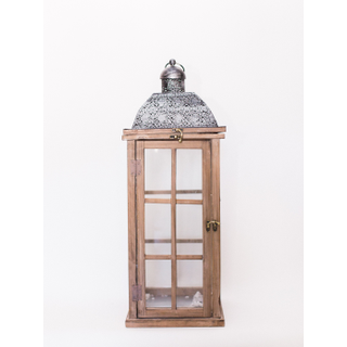 tall wooden lantern with silver top