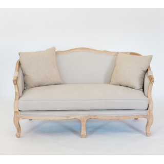 linen settee with wood trim and legs
