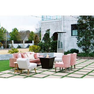pink lounge with fire pit