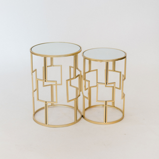 gold square detail end tables