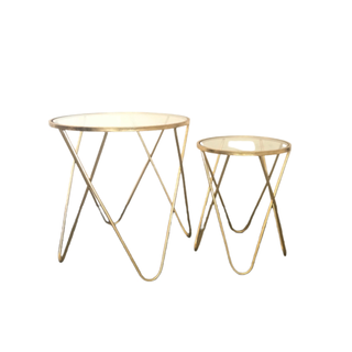 two gold and glass modern tables