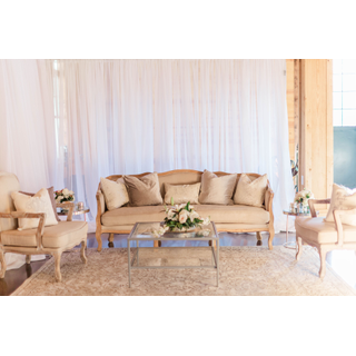 silver and linen lounge set