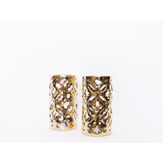 tall gold trellis candle holders
