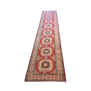 vintage red and yelllow runner rug