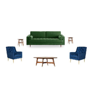 Green sofa, two blue chairs, wood tables