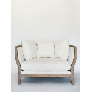 curved linen sofa with wood trim and legs