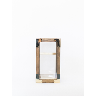 square wooden lantern with gold corners