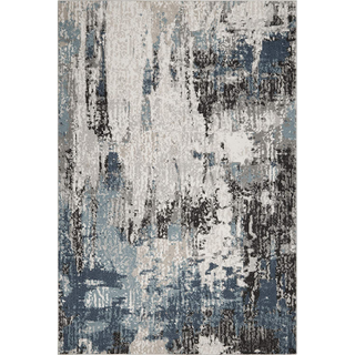 black, gray, and blue rug