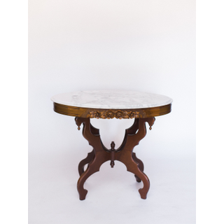 tall marble and wood vintage table