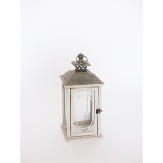 white lantern with brown top