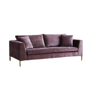 purple velvet sofa with gold legs