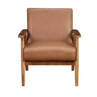 Leather arm chair with wood legs
