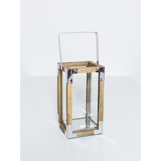 square wooden lantern with silver corners and handle