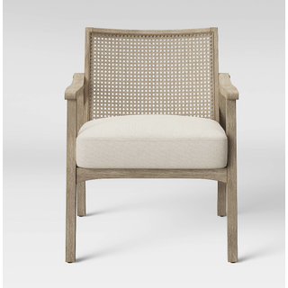 square back linen chair with cane back