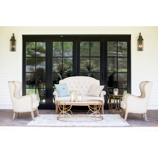 Linen settee with two linen chairs, gold coffee and side tables