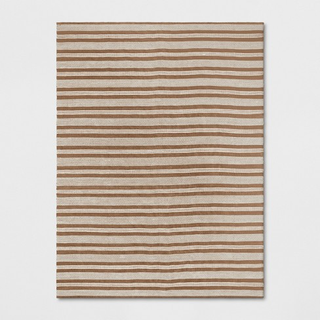 brown and cream stripe rug