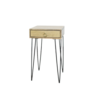 wood end table with black hairpin legs
