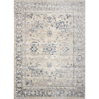 tan rug with blue details
