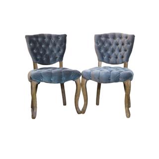 gray tufted velvet chairs