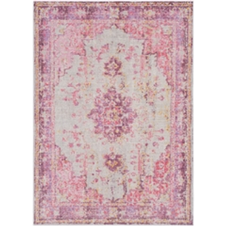 pink rug with purple detail