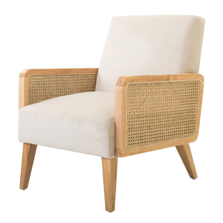 linen chair with wicker sides and light wood legs