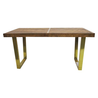 gold and wood bench