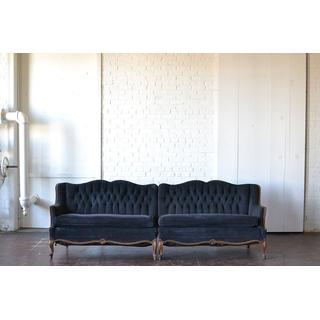 gray dark victorian velvet tufted sofa