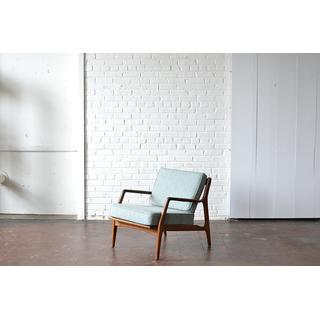 mid-century modern blue gray wooden chair