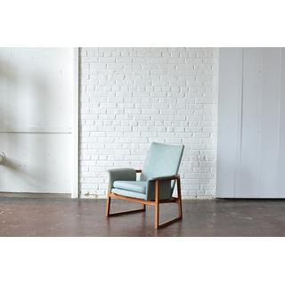 mid-century modern gray blue armchair
