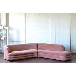 pink velvet sectional art deco on white background