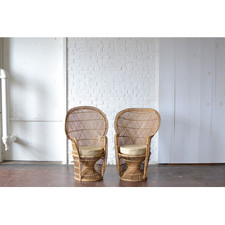 Pair of Wicker Peacock Chairs with Seat Cushions