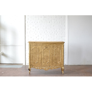 vintage gold wooden buffet on white backround
